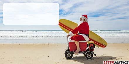 Leserservice Geschenkkarte Weihnachtsmann Surfer